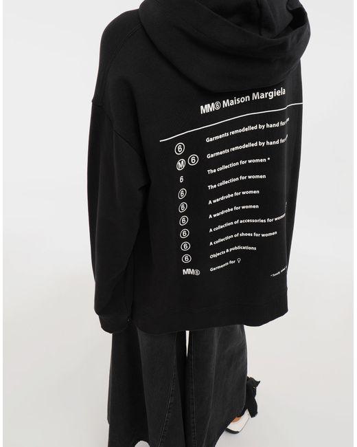 7b6d6a7ab910 ... MM6 by Maison Martin Margiela - Black Logo-print Hooded Sweatshirt -  Lyst ...