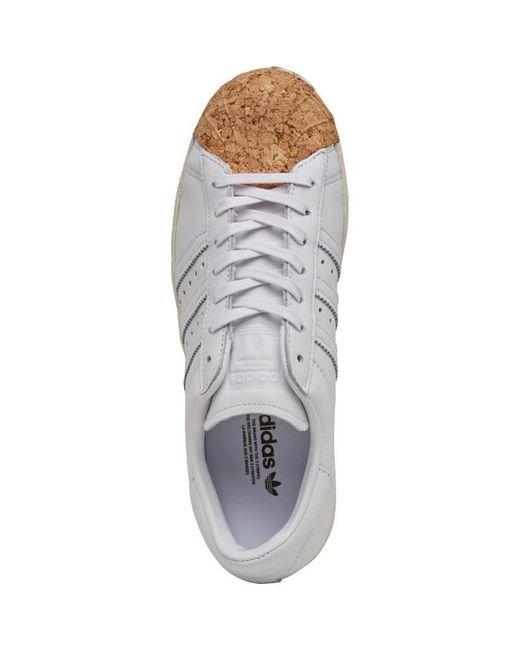 Adidas superstar degli anni '80 il sughero formatori bianco originali / bianco / bianco