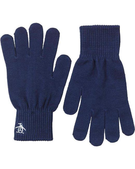 Original Penguin - Blue Rib Gloves Navy for Men - Lyst
