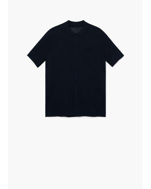 Mango Blue Regular Fit Knit Shirt For Men Lyst