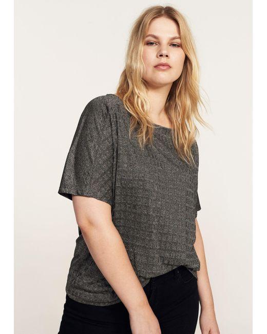 Violeta by Mango   Gray Textured Flowy T-shirt   Lyst