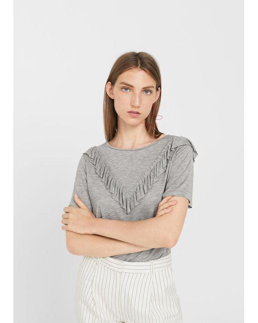 Mango   Gray Ruffled Detail T-shirt   Lyst