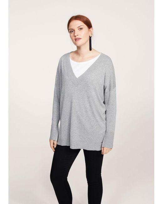 Violeta by Mango - Gray V-neck Sweater - Lyst