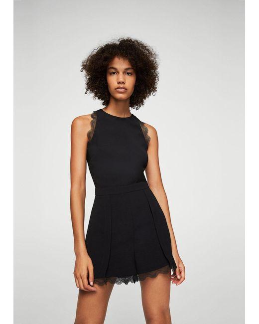 Mango | Black Blond-lace Appliqué Jumpsuit | Lyst