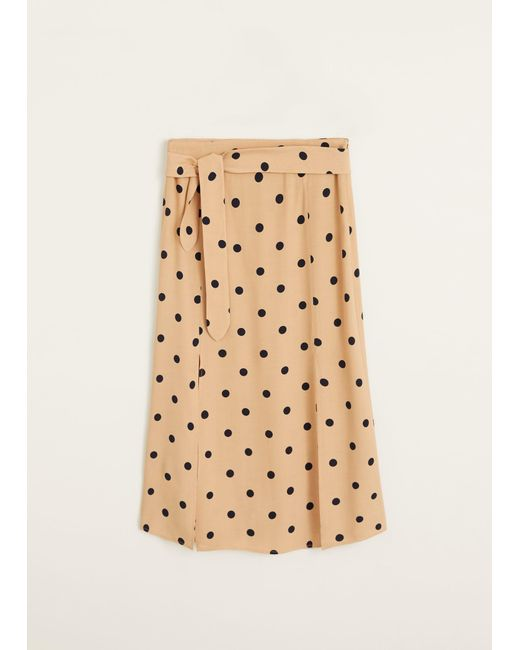 67acccbb92 Lyst - Mango Polka Dots Midi Skirt in Natural