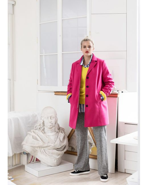 Violeta by Mango | Pink Lapels Structured Coat | Lyst