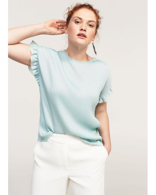 Violeta by Mango | Blue Metallic Pleated Shirt | Lyst