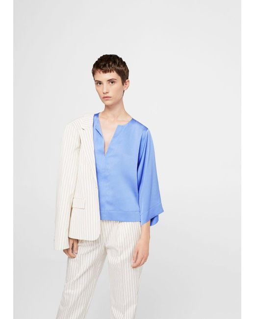 Mango | Blue Flowy Textured Blouse | Lyst