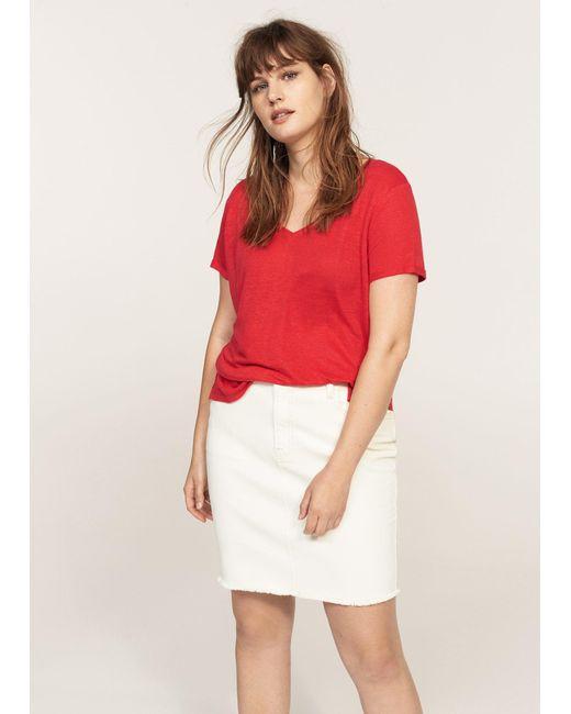 Violeta by Mango | Red Flecked Linen-blend T-shirt | Lyst