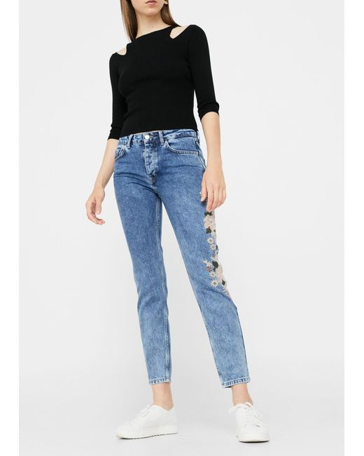 Mango embroidered relaxed spring jeans in blue lyst