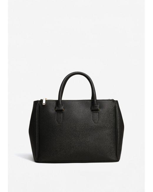 Mango | Black Saffiano-effect Shopper Bag | Lyst
