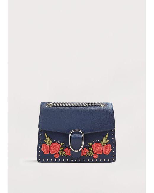 Violeta by Mango   Blue Floral Embroidery Bag   Lyst