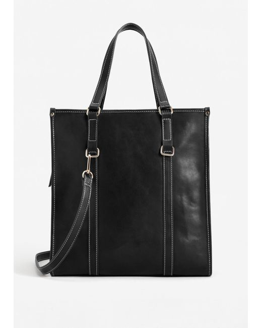 Mango | Black Contrast Seam Shopper Bag | Lyst