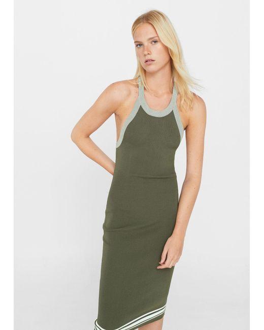 Mango   Green Fitted Jersey Dress   Lyst