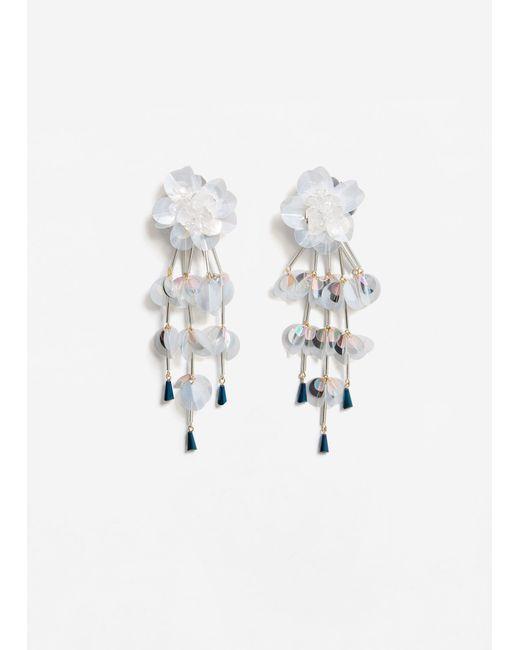Mango | White Sequin Drop Earrings | Lyst