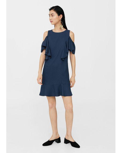 Mango | Blue Ruffles Slit Dress | Lyst