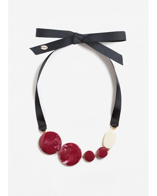 Mango   Red Bead Necklace   Lyst