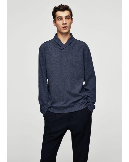 Mango | Blue Flecked Cotton-blend Sweater for Men | Lyst