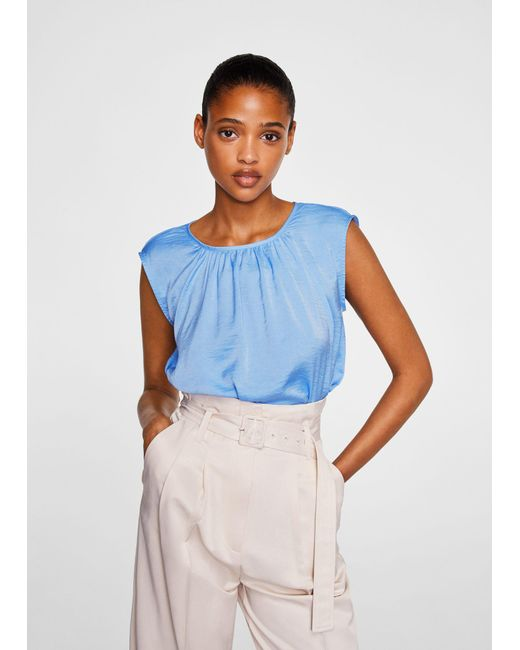 Mango - Blue Ruched Neck Blouse - Lyst