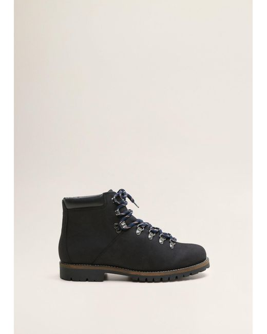 Mango - Black Lace-up Leather Boots for Men - Lyst
