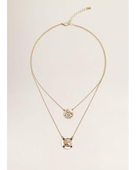 Mango - Metallic Coin Double Necklace - Lyst