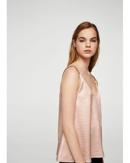 Mango | Pink Satin Top | Lyst