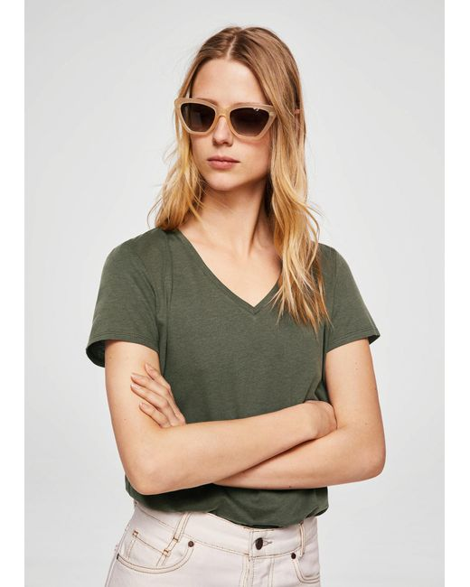 Mango - Green Mercerised T-shirt - Lyst