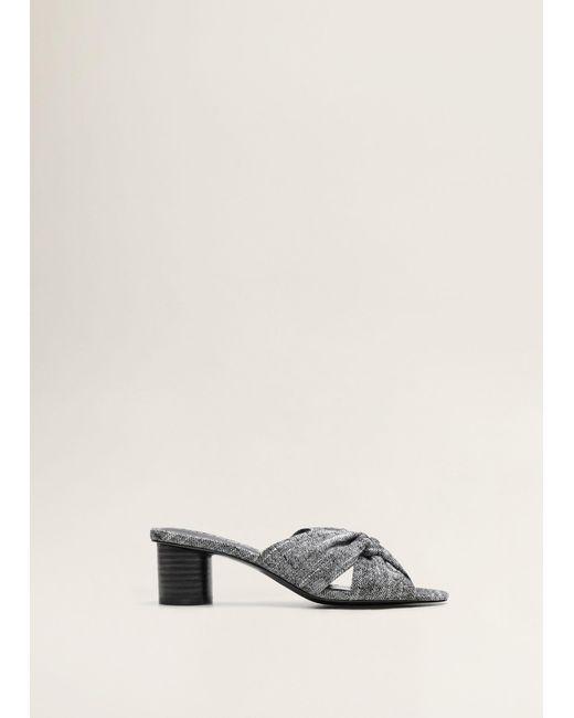770b4d185f Mango - Gray Criss-cross Straps Sandals - Lyst ...