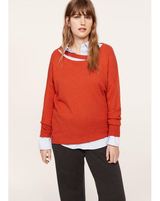 Violeta by Mango | Red Neck Cut-out Sweater | Lyst