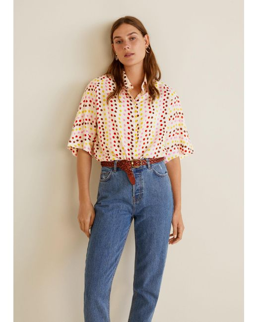 Mango - White Printed Oversize Shirt - Lyst