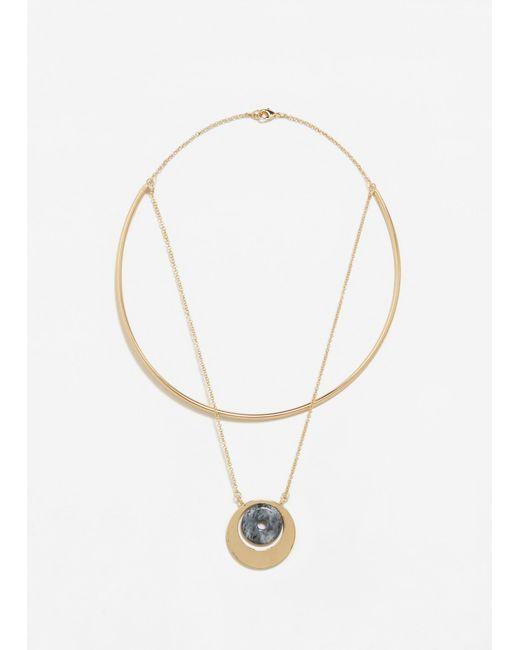 Mango | Metallic Circular Embellishment Necklace | Lyst