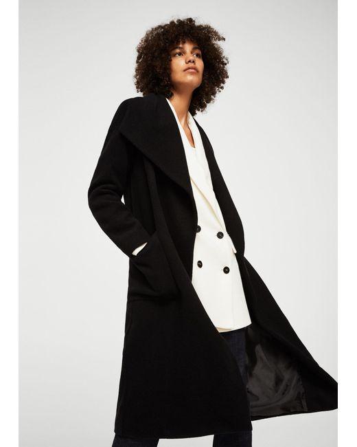 Mango | Black Belted Wool Coat | Lyst