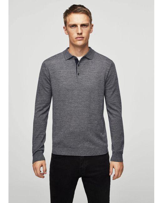 Mango | Gray Button Wool Sweater for Men | Lyst