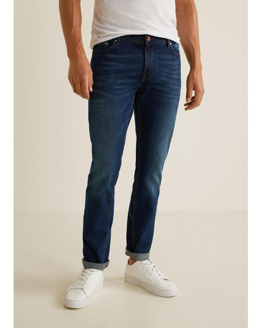 Mango - Blue Slim-fit Faded Dark Wash Jan Jeans for Men - Lyst