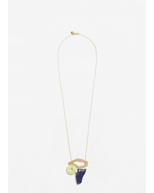 Mango | Metallic Geometric Pendant Necklace | Lyst