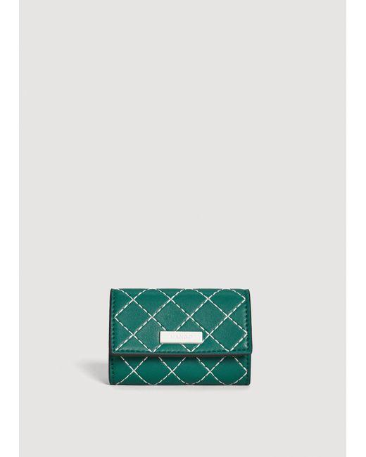 Mango - Green Contrast Seam Wallet - Lyst