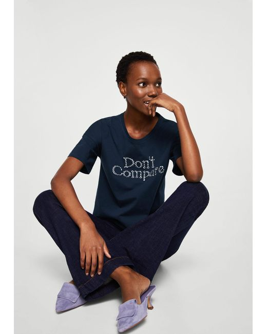 Mango - Blue Embroidered Message T-shirt - Lyst