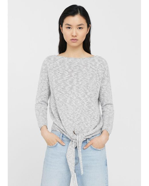 Mango | Gray Knot Detail Sweater | Lyst