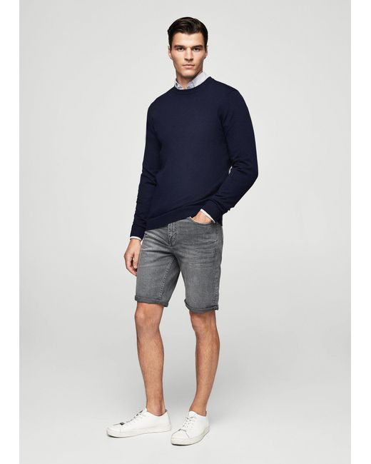 Mango | Gray Grey Denim Bermuda Shorts | Lyst
