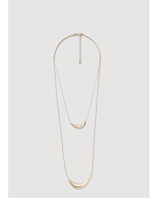 Mango   Metallic Metal Pendant Necklace   Lyst