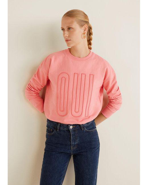Mango - Pink Embossed Message Sweatshirt - Lyst