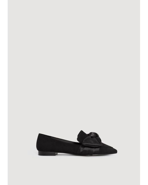 Mango | Black Satin Bow Shoes | Lyst