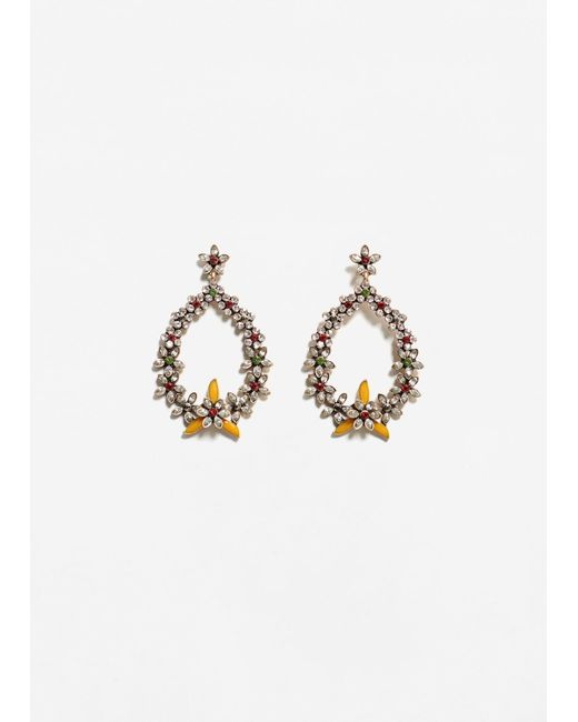 Mango | Metallic Flower Pendant Earrings | Lyst
