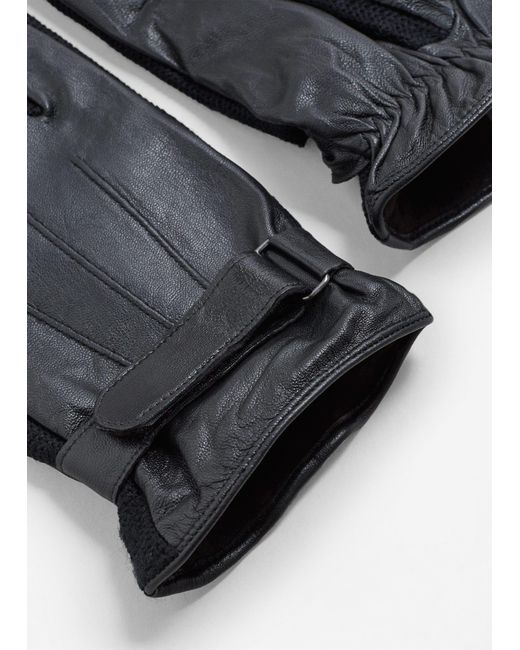 Mango | Black Combined Leather Glove for Men | Lyst