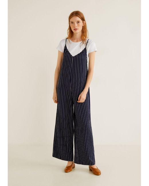 86d6ca47c4a ... Mango - Blue Striped Long Jumpsuit - Lyst ...