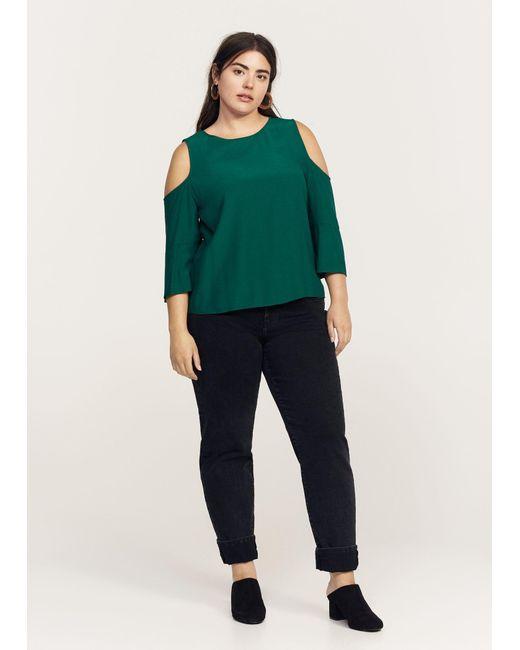 Violeta by Mango - Green Flowy Off-shoulder Blouse - Lyst