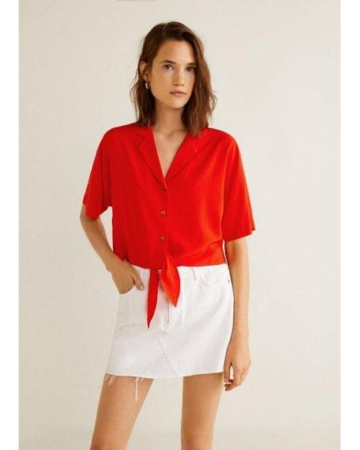 063efdcfbac7cd Mango Knot Detail Flowy Blouse Red in Red - Lyst
