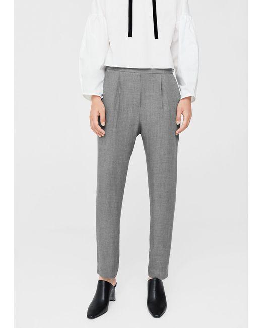 Mango   Gray Pleat Detail Trousers   Lyst