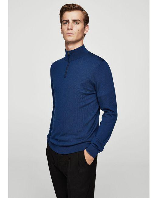 Mango Wool-blend Knit Sweater in Blue for Men   Lyst