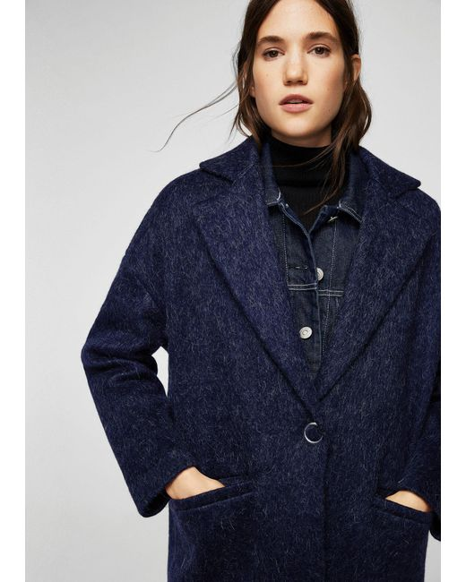Mango | Blue Mohair Wool-blend Coat | Lyst